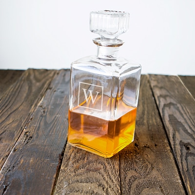The Personalized Glass Whiskey Decanter is one of our top selling groomsmen gifts for whiskey lovers