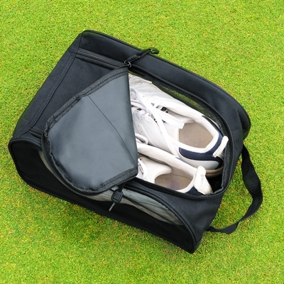 Any size golf shoes will fit comfortably inside this shoe bag.