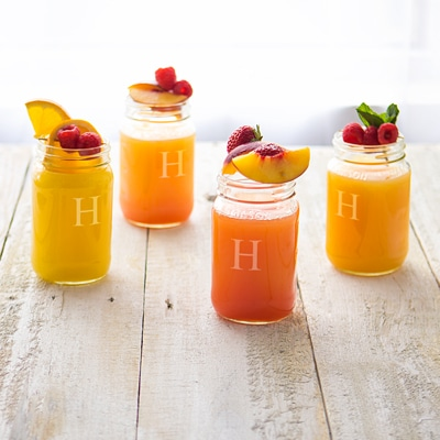 These engraved mason jars are great for serving fresh summertime cocktails.