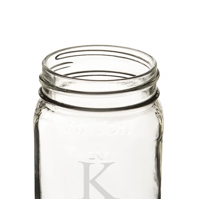 A single letter of your choosing will be monogrammed on each mason jar.