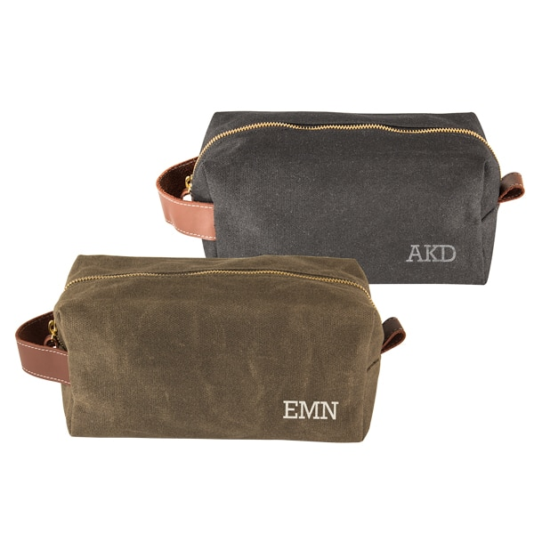 Personalized Waxed Canvas & Leather Dopp Kit
