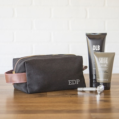 fcabdf0114e Personalized Waxed Canvas   Leather Dopp Kit - The Man Registry