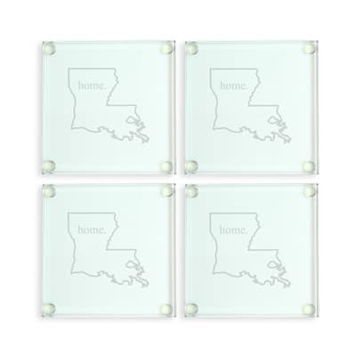 Clear, durable glass makes this home state coaster set a great gift idea.