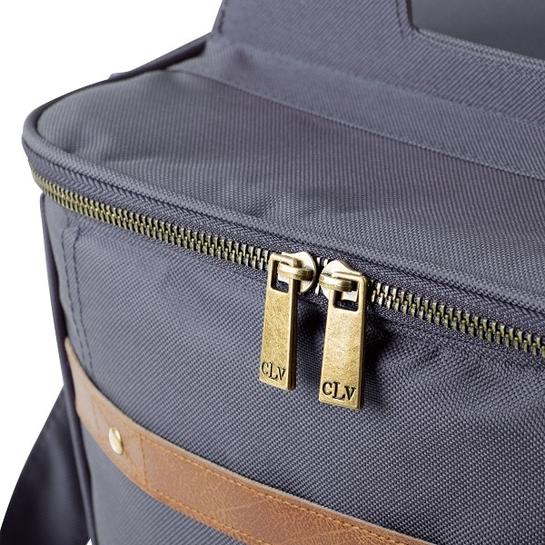A close up of the engraved zippers on the 4908N Personalized 12-Pack Craft Beer Cooler