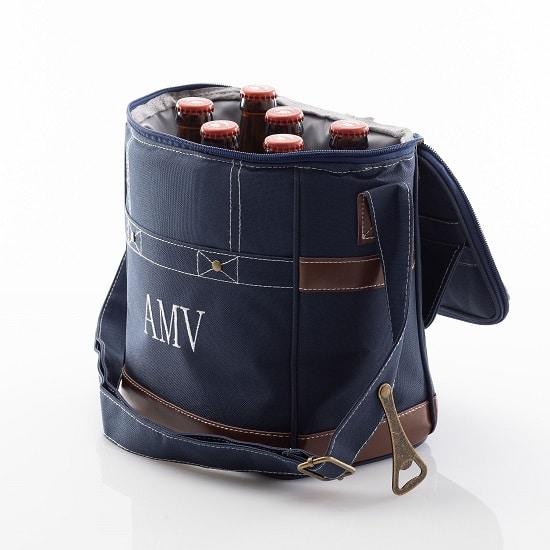 6 bottles fit comfortably in this custom groomsmen cooler