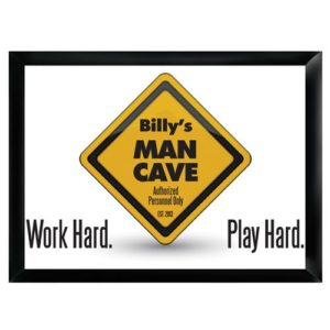 "Personalized ""Work Hard Play Hard"" Man Cave Sign"