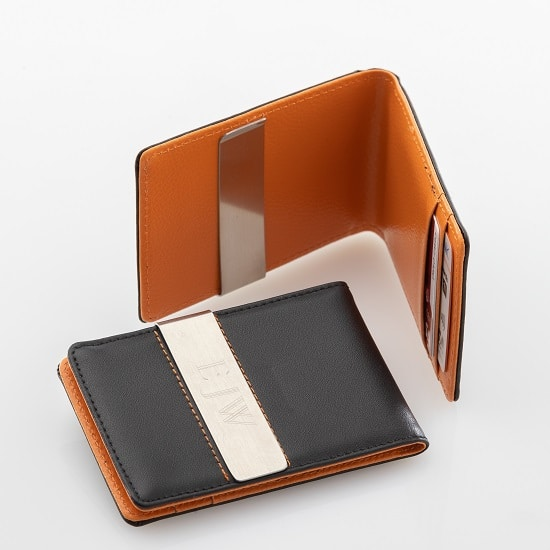 Black Metro Leather Wallet with Orange Interior