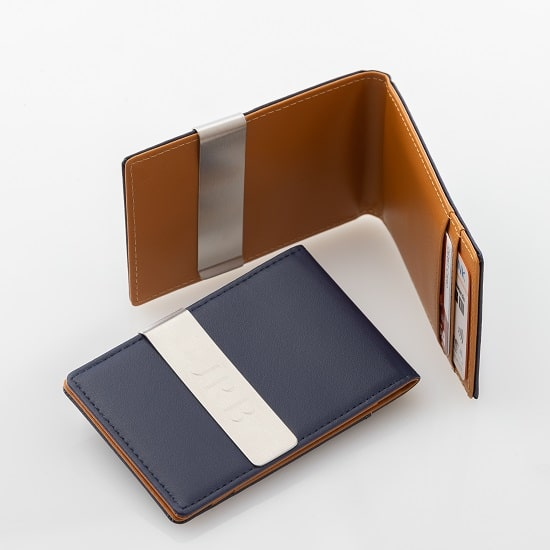 Blue Metro Leather Wallet with Rawhide Interior
