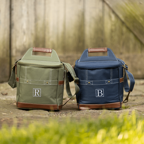 Blue and green personal cooler bags for groomsmen