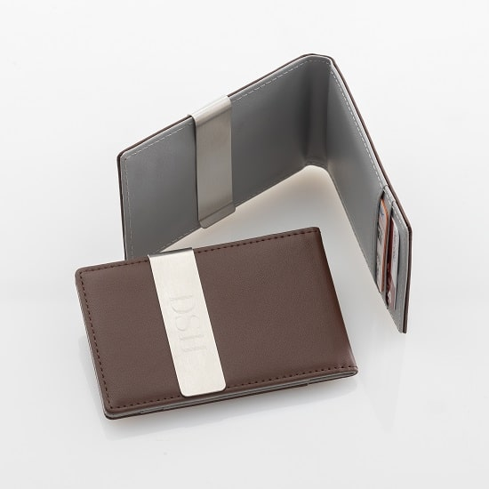 Brown Metro Leather Wallet with Grey Interior