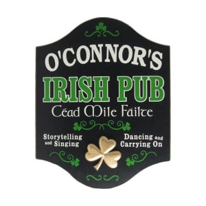 Custom CEAD MILE FAILTE Wooden Irish Pub Sign