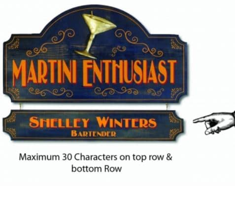 Custom Martini sign with 2 lines of customized text - RT113