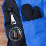 GC630 Apron with Bottle Opener Beer Holder and Oven Mitt