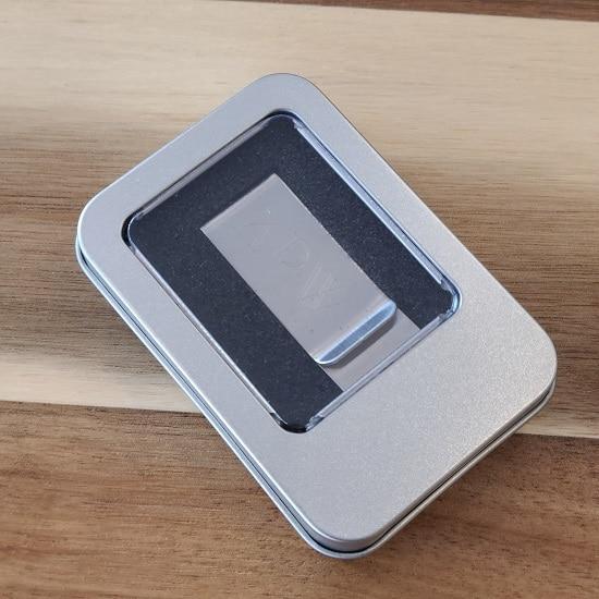 Gift tin for engraved No-Slip Money Clip