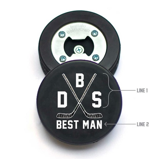 Hockey Puck Crossed Sticks Initials Design