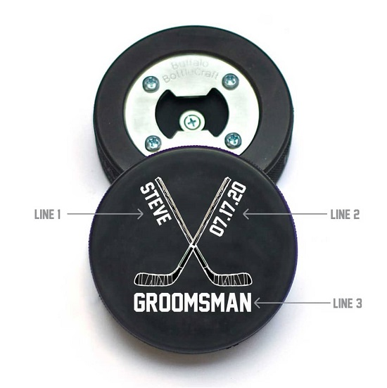Hockey Puck Crossed Sticks Name & Date Design