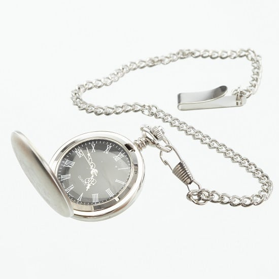 Interior of men's classic silver pocket watch