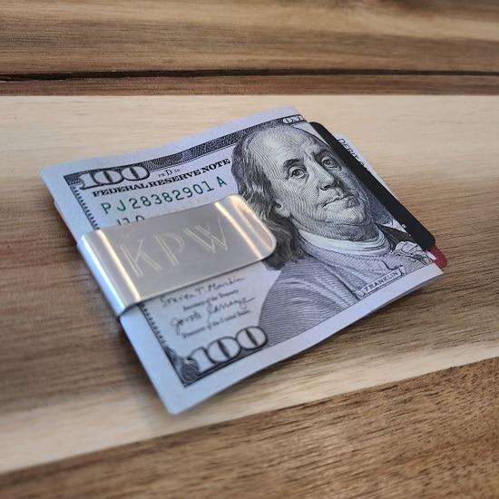 Men's silver money clip engraved for wedding groomsmen