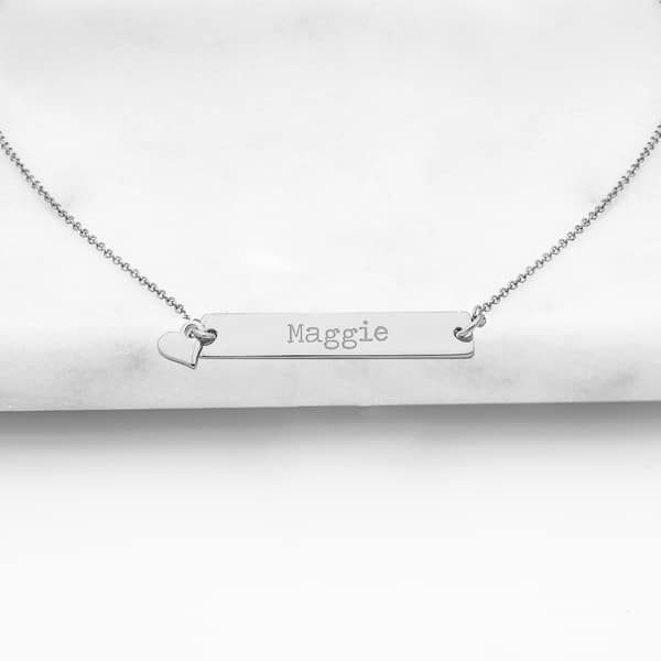 Personalized Bar Necklace with Heart Charm