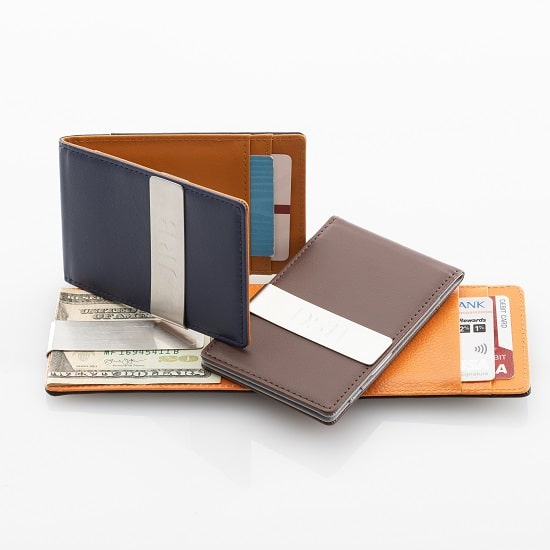 Our leather groomsmen wallets are available in black, blue and brown leather designs