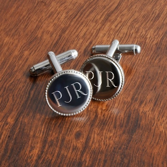 Personalized Beaded Silver Round Cufflinks (Gift Boxed)