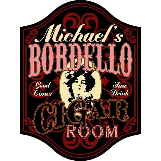 Personalized Bordello Cigar Room Premium Wood Sign