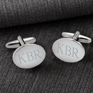 Personalized Classic Silver Oval Cufflinks (Gift Boxed)