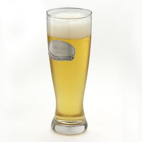 Personalized Grand Pilsner Glass with Pewter Medallion for Groomsmen