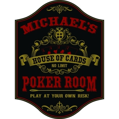 Personalized House of Cards Poker Room Sign