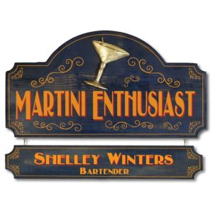 Personalized Martini Enthusiast Premium Wood Sign