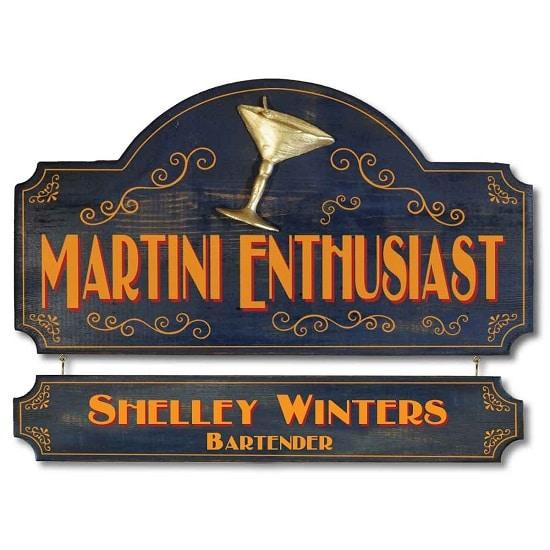 Personalized Martini Enthusiast Premium Wood Sign