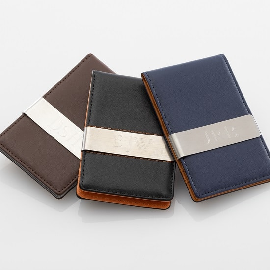 Personalized Metro Leather WalletMoney Clip (Available in 3 Colors)