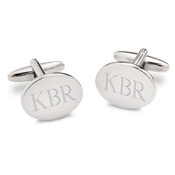 Personalized Silver Oval Cufflinks