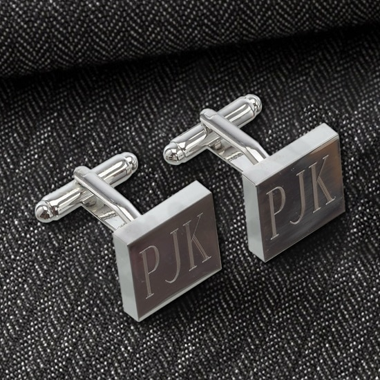Personalized Silver Square Cufflinks (Gift Boxed)