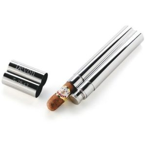 Personalized Stainless Steel Cigar Case Flask Combo