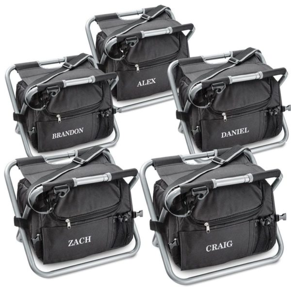 Order a set of 5 personalized insulated groomsmen cooler chairs