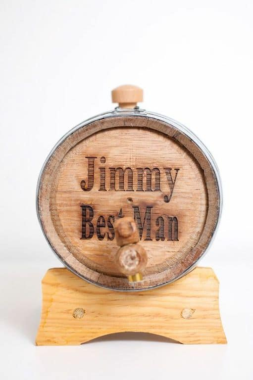 Mini whisky barrel with best man engraving