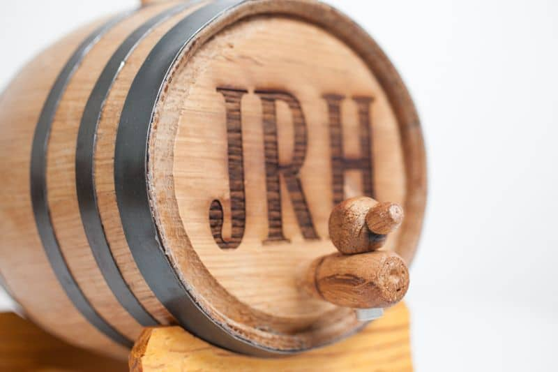 Close up of engraving on 2-liter mini whiskey barrel
