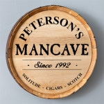 Personalized Whiskey Barrel Man Cave Sign