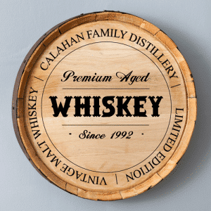 Personalized Barrel Head Signs Crafted From Real Oak Bourbon Barrels