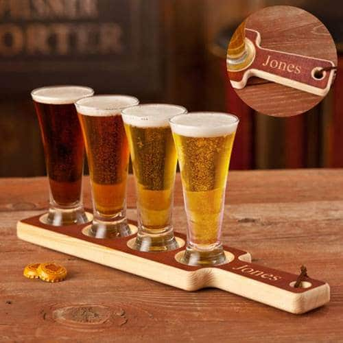 Personalized Wooden Beer Flight Tasting Paddle