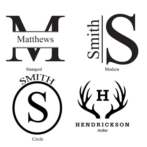 Our four custom monogram designs to be engraved on the GC1400 Men's Watch Case