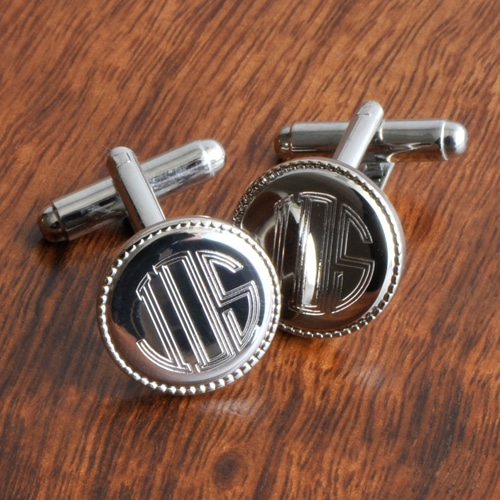 Personalized Silver Round Beaded Monogrammed Cufflinks