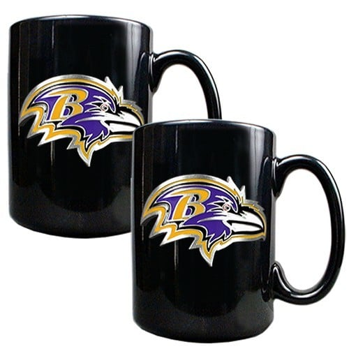 NFL 2pc. Black Ceramic Coffee Mug Set