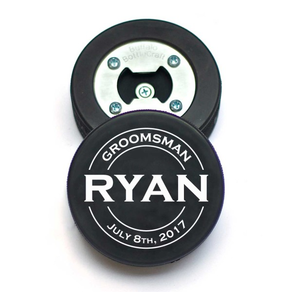 Personalized Hockey Puck Bottle Opener