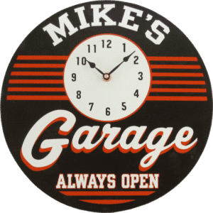 Let everyone know your garage is always open when you hang this retro clock with your name at the top.