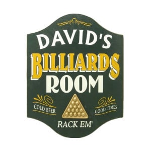 Custom Wooden Billiards Room Sign