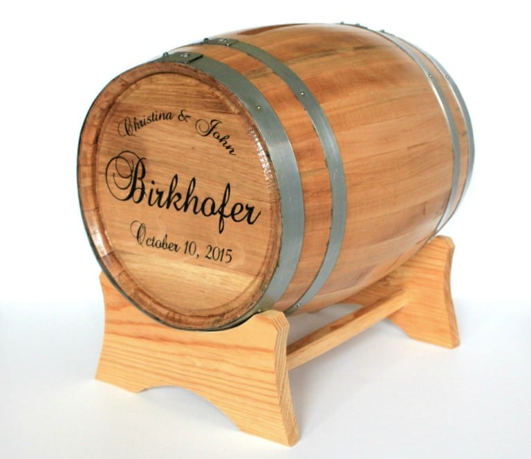 Personalized Wine Barrel Wedding Card Holder