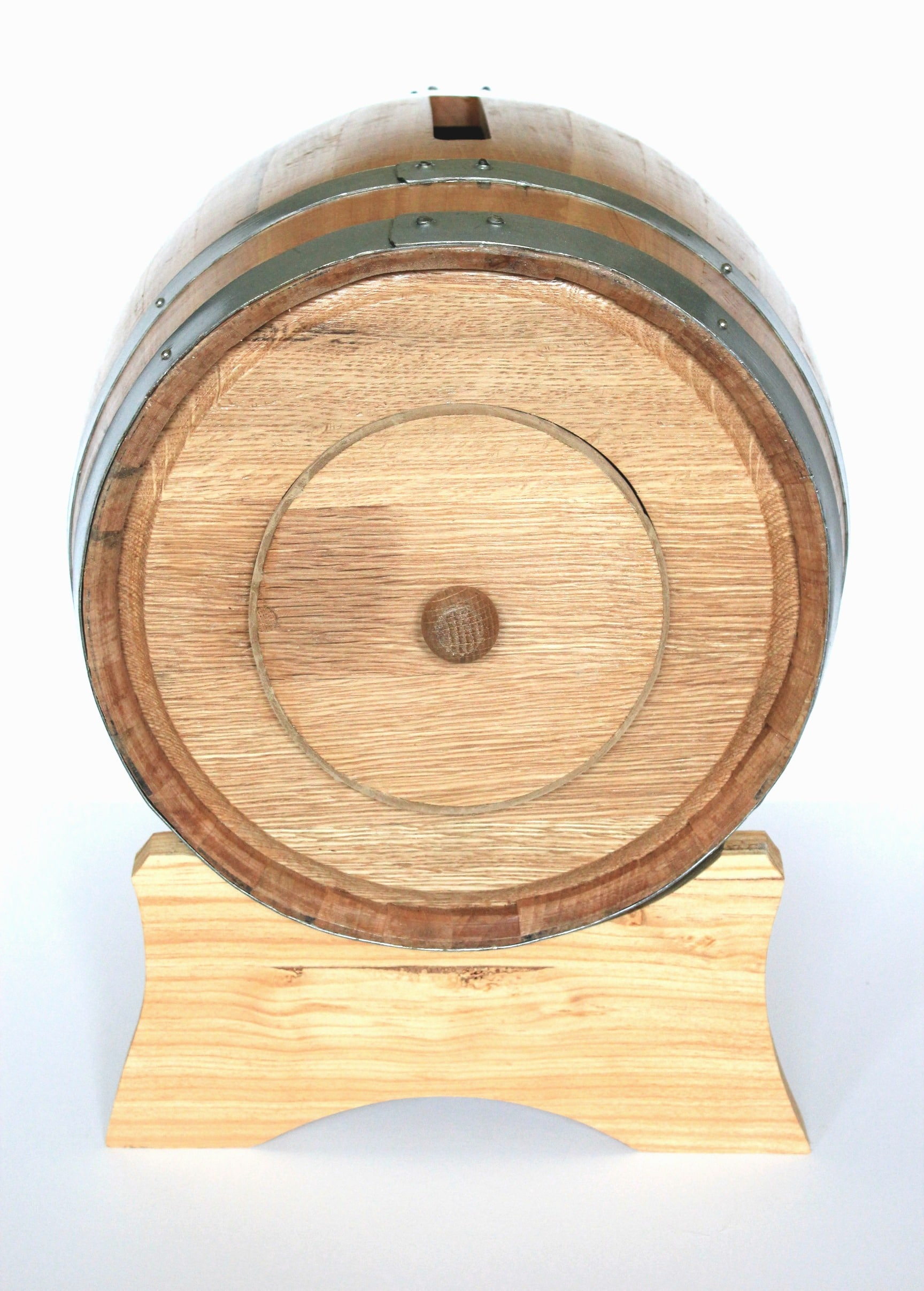 Back of card holder barrel with closed trap door