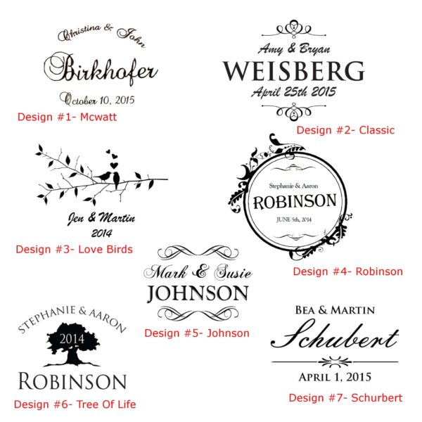 Choose one of our 7 designs to be engraved on your wedding barrel.